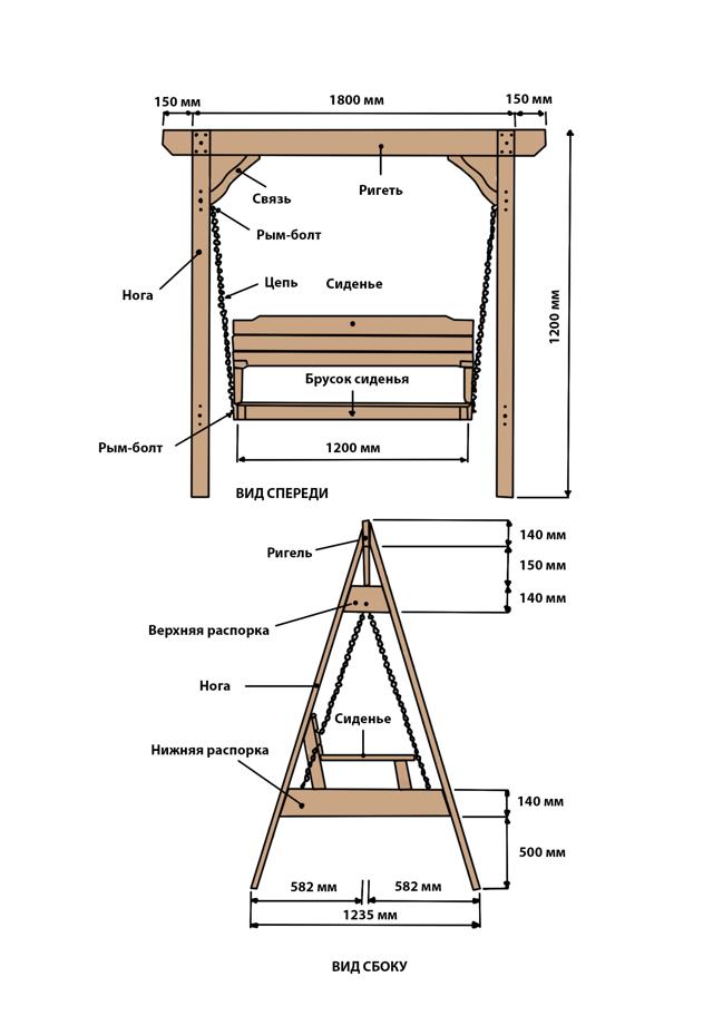 Как сделать садовые качели своими руками из дерева, металла: чертежи, руководство