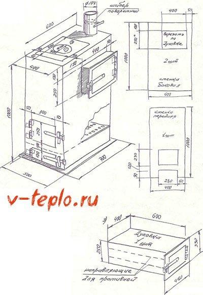 Печь–буржуйка своими руками: чертежи, как построить?
