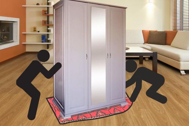 Как передвинуть тяжелую мебель, шкаф без ножек не поцарапав пол?