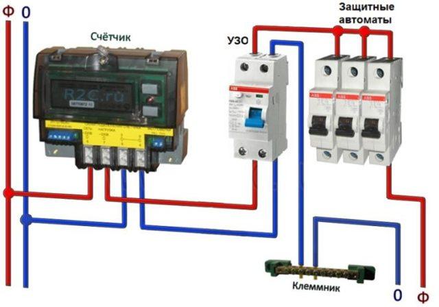 Как подключить УЗО без заземления, в однофазной, двухпроводной сети: схема