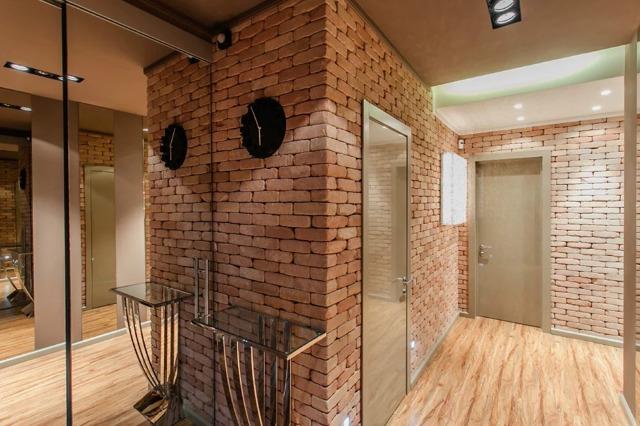 Кирпич в интерьере квартиры, кухни, прихожей, спальни