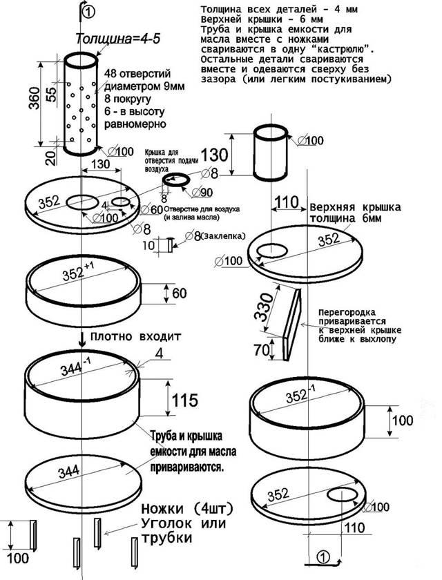 Печка на отработке из газового баллона: как сделать своими руками, чертежи