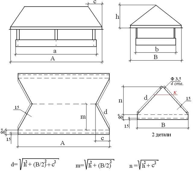 Дефлектор вентиляционный на дымоход своими руками: чертежи, инструкция