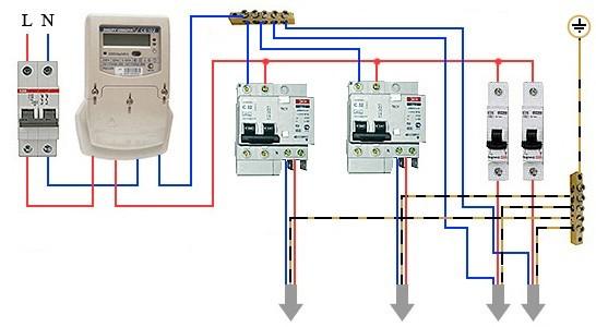 Схема подключение дифавтомата в однофазной сети