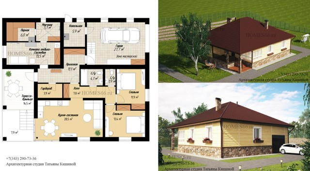 Удобная планировка одноэтажного дома со спальнями, гаражами